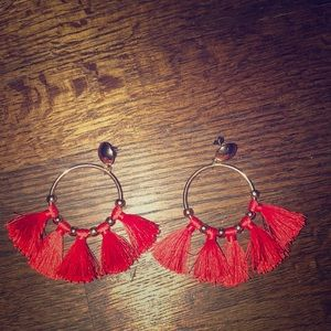 Beautiful gold and red tasseled earrings